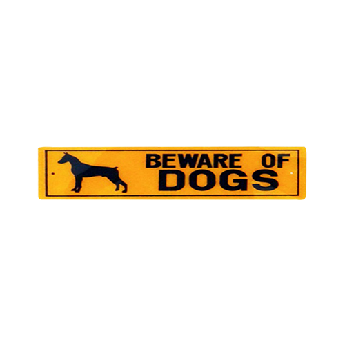 Dinos Warning Beware Of Dog Sign (Doberman)-500x500