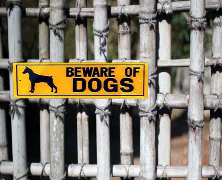 Dinos Warning Beware Of Dog Sign (Doberman