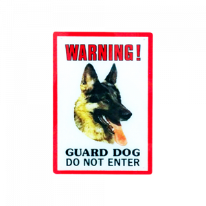 Dinos Warning Guard Dog Sign (German Shepherd-Alsation)-500x500
