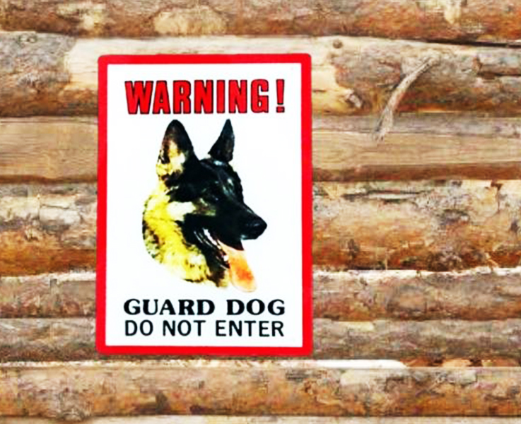 Dinos Warning Guard Dog Sign (German Shepherd-Alsation)