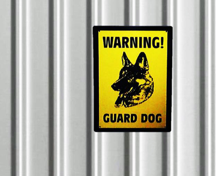 Dinos Warning Guard Dog Sign (Large)